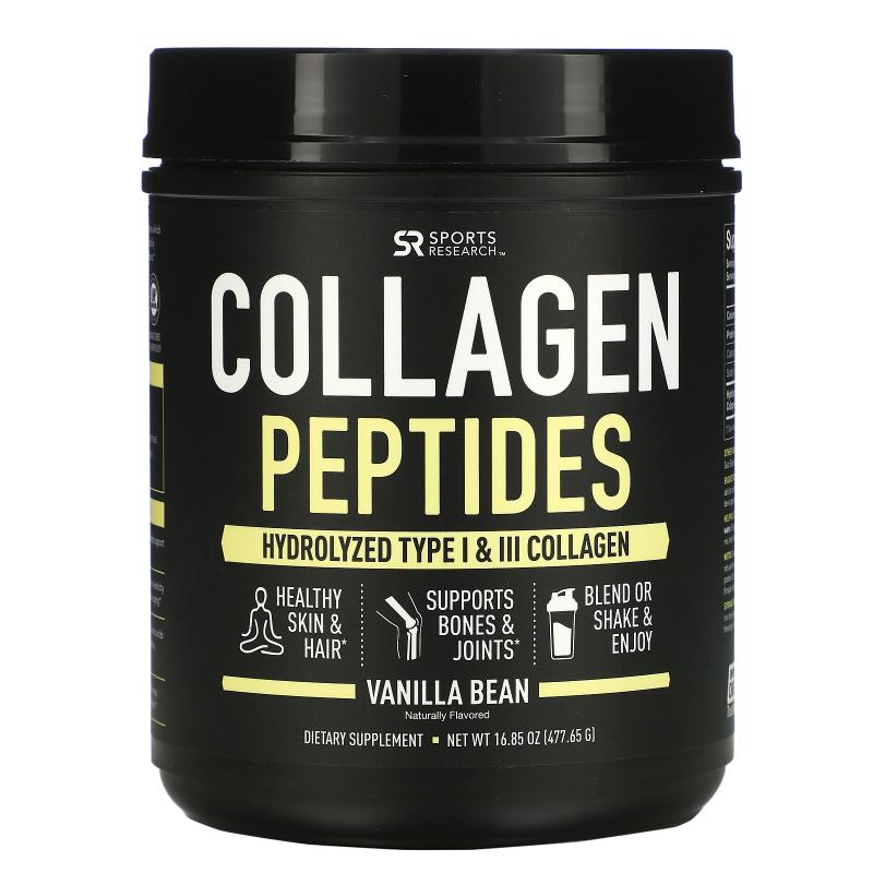 Sports Research, Collagen Peptides, Hydrolyzed Type I & III Collagen, Vanilla Bean, 16.89 oz (478.88 g)