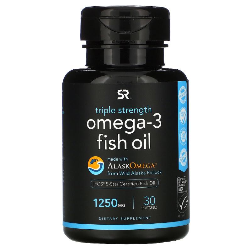 Sports Research, Triple Strength Omega-3, 1250 mg, 30 Softgels