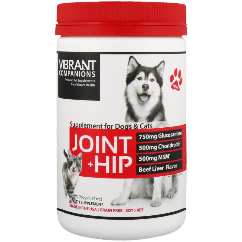 Vibrant Health, Joint + Hip, Supplement for Dogs & Cats, Beef Liver Flavor, 9.17 oz (260 g)