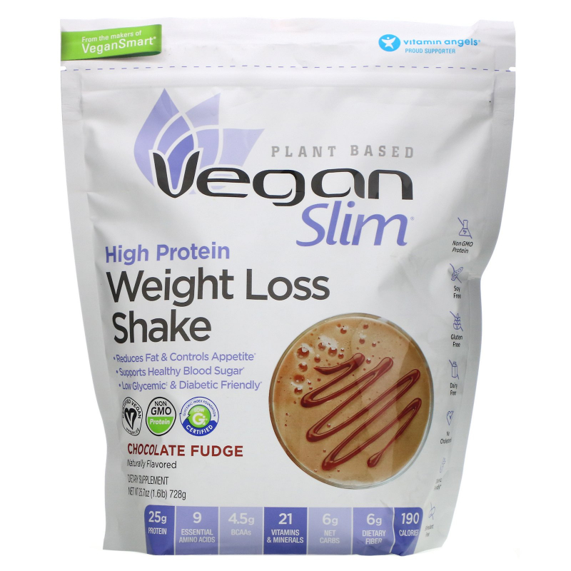 VeganSmart, Vegan Slim, Weight Loss Shake, Chocolate, 1.6 lbs (728 g)