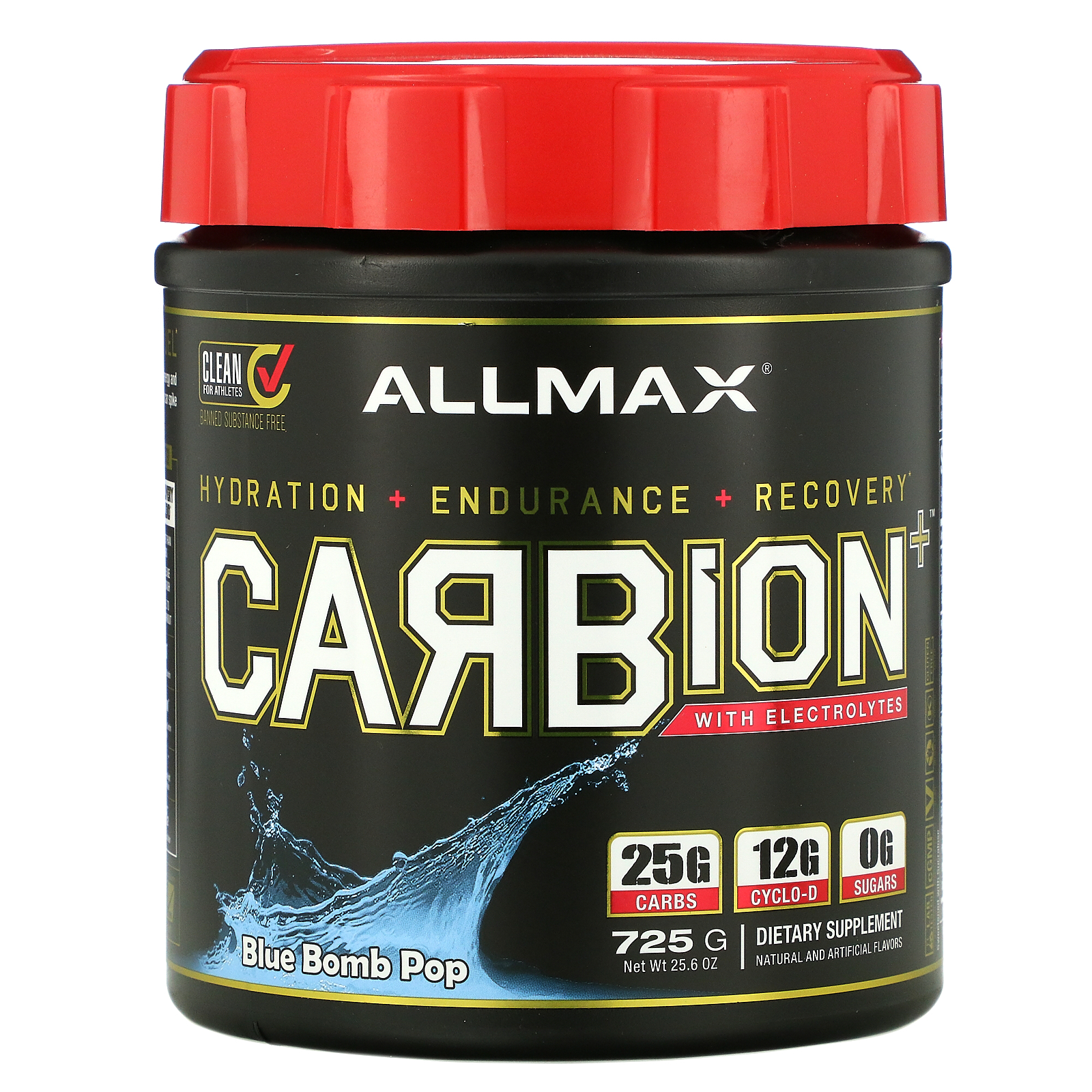 ALLMAX Nutrition, CARBion+ with Electrolytes, Blue Bomb Pop, 1.91 lbs (870 g)
