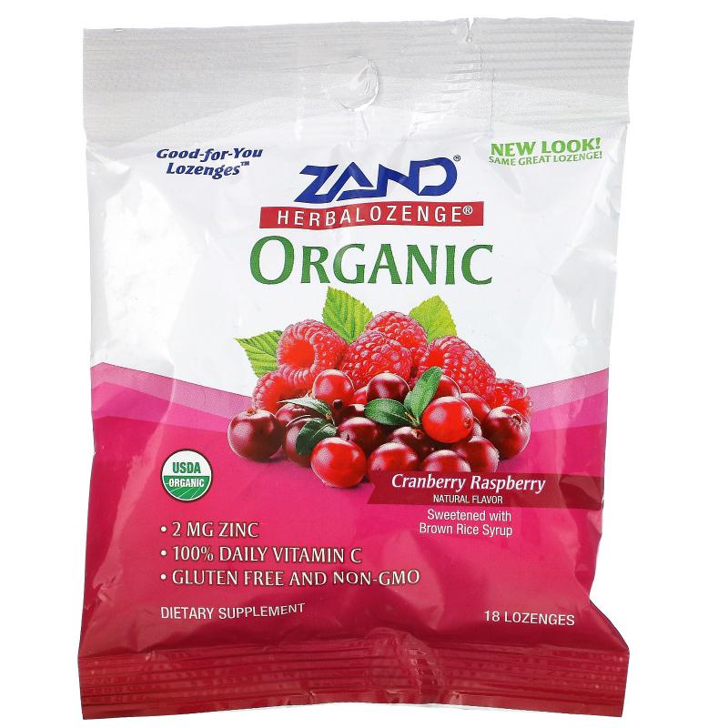 Zand, Organic Herbalozenge, Cranberry Raspberry, 18 Lozenges
