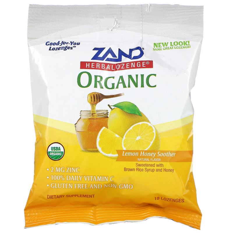 Zand, Organic Herbalozenge, Lemon Honey Soother, 18 Lozenges
