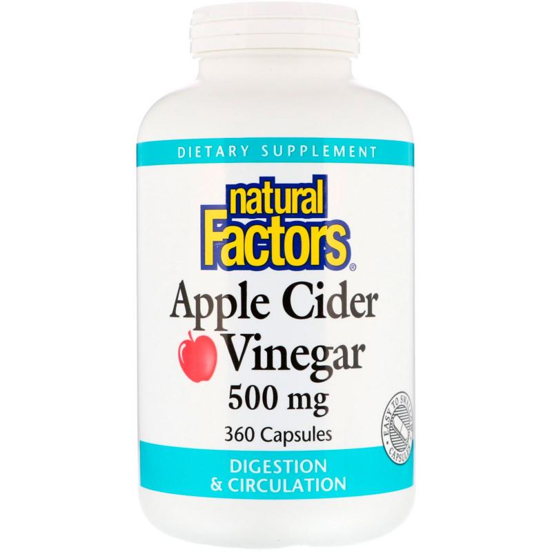 Natural Factors, Apple Cider Vinegar, 500 mg, 360 Capsules