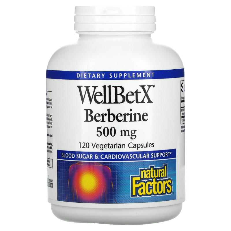 Natural Factors, WellBetX, Berberine, 500 mg, 120 Vegetarian Capsules