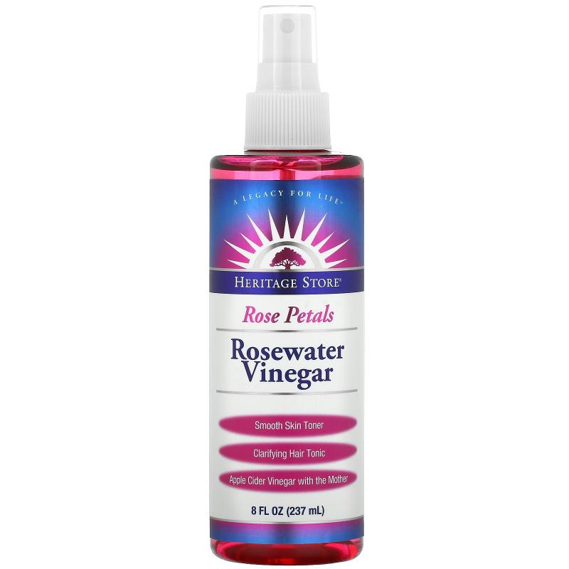 Heritage Store, Rosewater Vinegar, Smooth Skin Toner, Rose Petals, 8 fl oz (237 ml)
