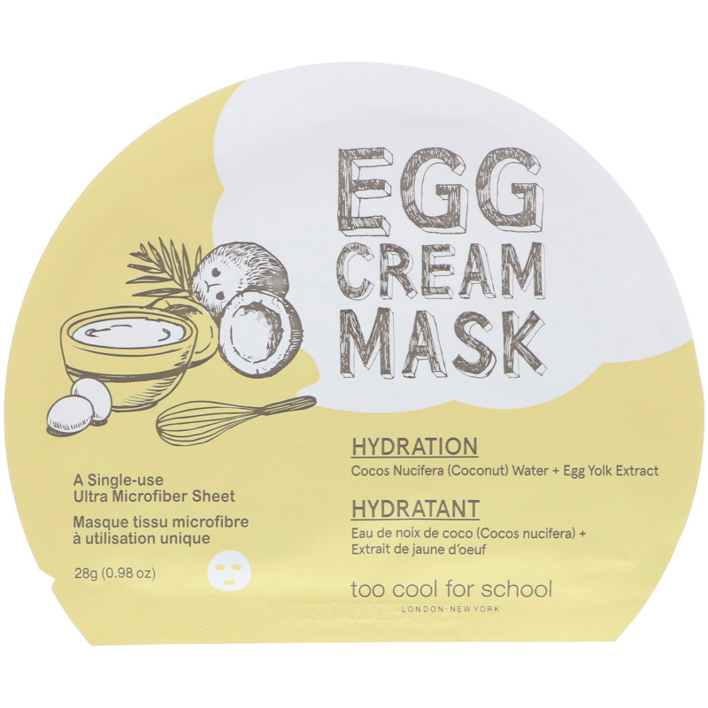 Too Cool for School, Egg Cream Mask, Hydration, 1 Sheet, (0.98 oz) 28 g