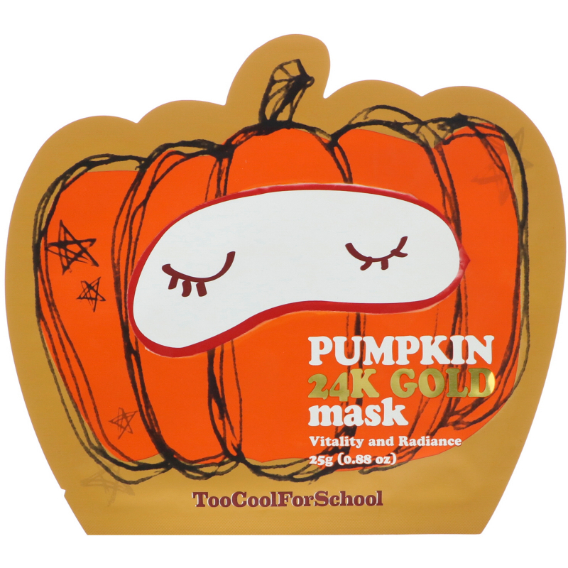 Too Cool for School, Pumpkin 24K Gold Mask, 1 Sheet, 0.88 oz (25 g)