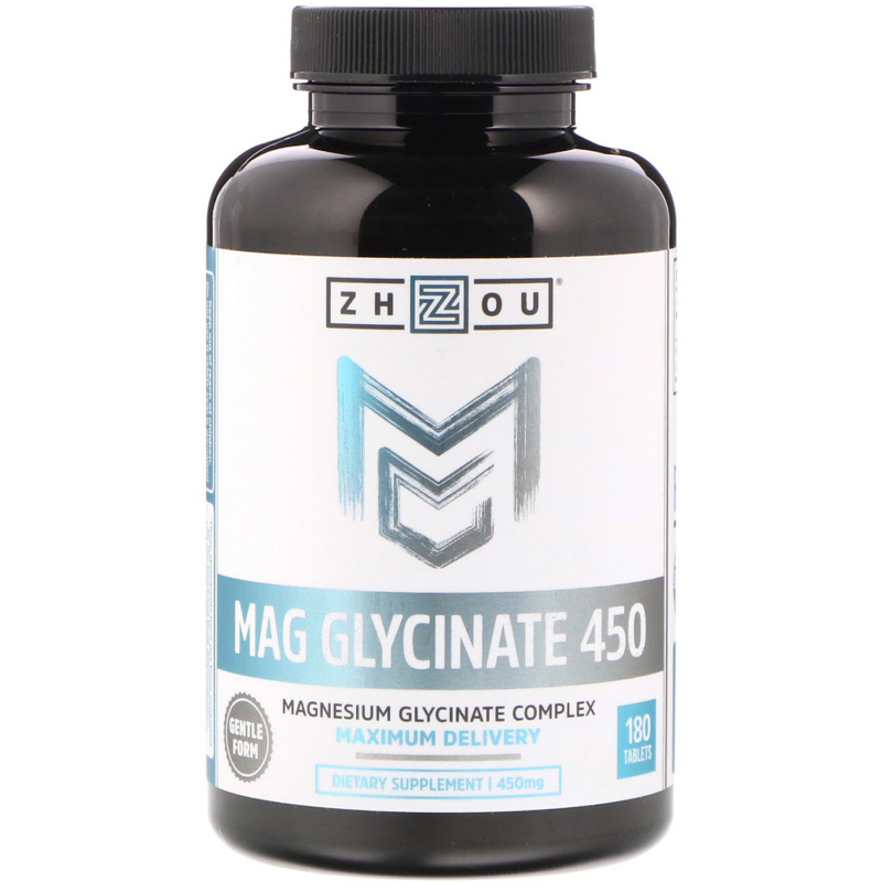 Zhou Nutrition, Mag Glycinate 450, 450 mg, 180 Tablets