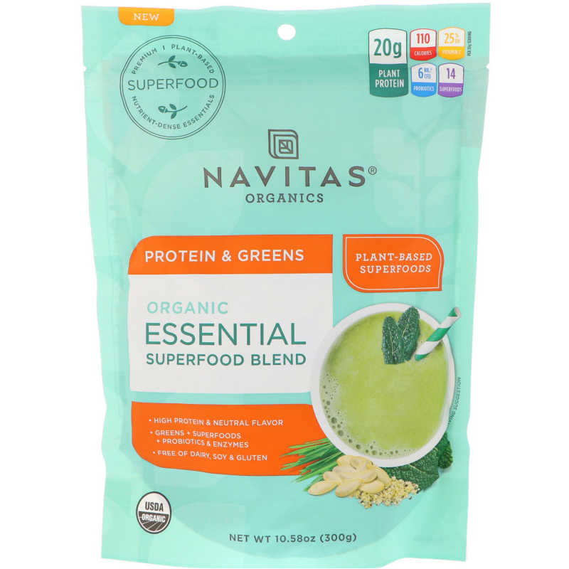 Navitas Organics, Organic Essential Superfood Blend, Protein & Greens, 10.58 oz (300 g)