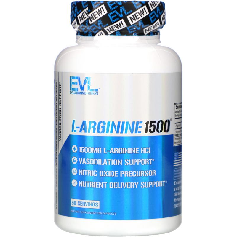 EVLution Nutrition, L-Arginine 1500, 100 Capsules