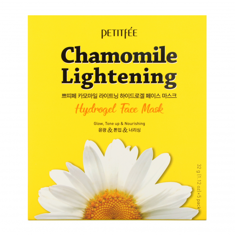 Petitfee, Chamomile Lightening, Hydrogel Face Mask, 5 Pack, 1.12 oz (32 g) Each