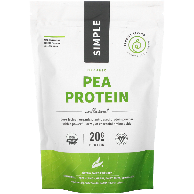Sprout Living, Simple, Pea Protein, 1 lb (440 g)