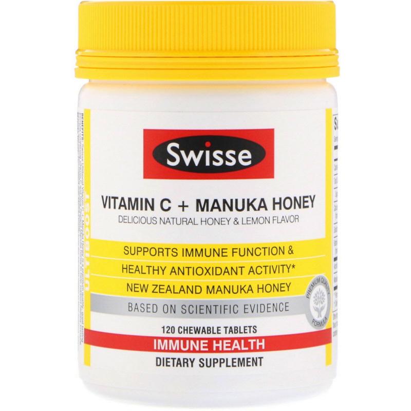 Swisse, Ultiboost, Vitamin C + Manuka Honey, Delicious Natural Honey & Lemon Flavor, 120 Chewable Tablets