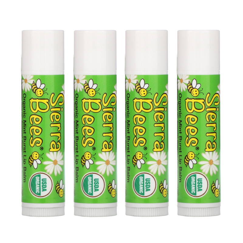 Sierra Bees, Organic Lip Balms, Mint Burst, 4 Pack, .15 oz (4.25 g) Each
