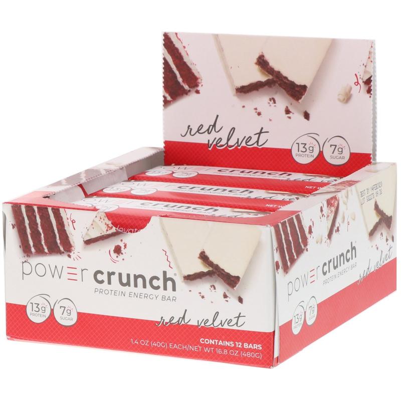 BNRG, Power Crunch Protein Energy Bar, Red Velvet, 12 Bars, 1.4 oz (40 g) Each
