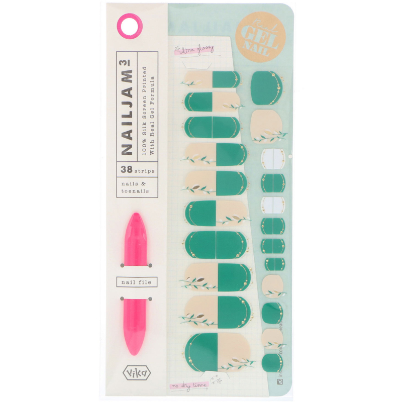 Vika Nailjam, Gel Nail Strips For Nails & Toenails, Glamor and Bloom, 38 Strips