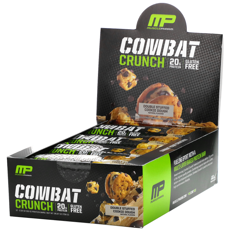 MusclePharm, Combat Crunch, Double Stuffed Cookie Dough, 12 Bars, 2.22 oz (63 g) Each