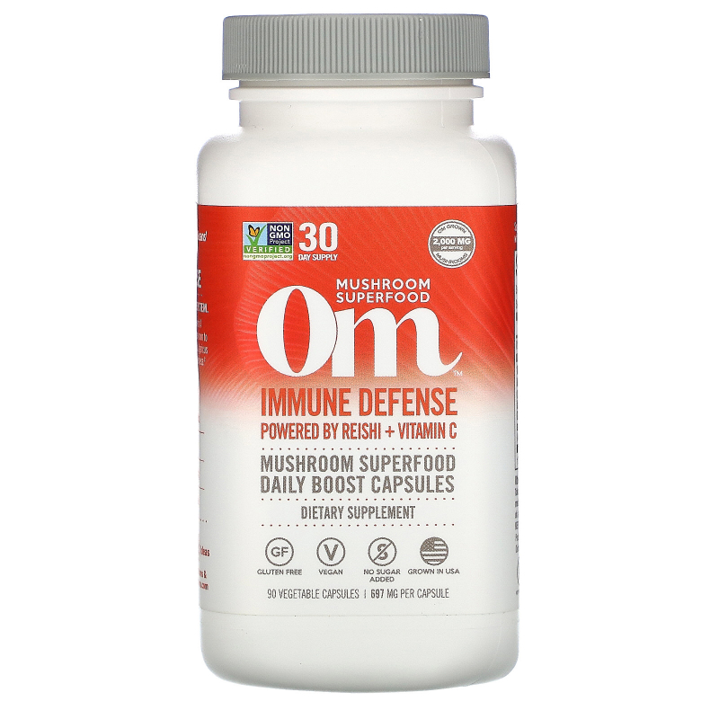 Organic Mushroom Nutrition, Immune Defense, Powered by Reishi + Vit C, 697 mg, 90 Vegetarian Capsules