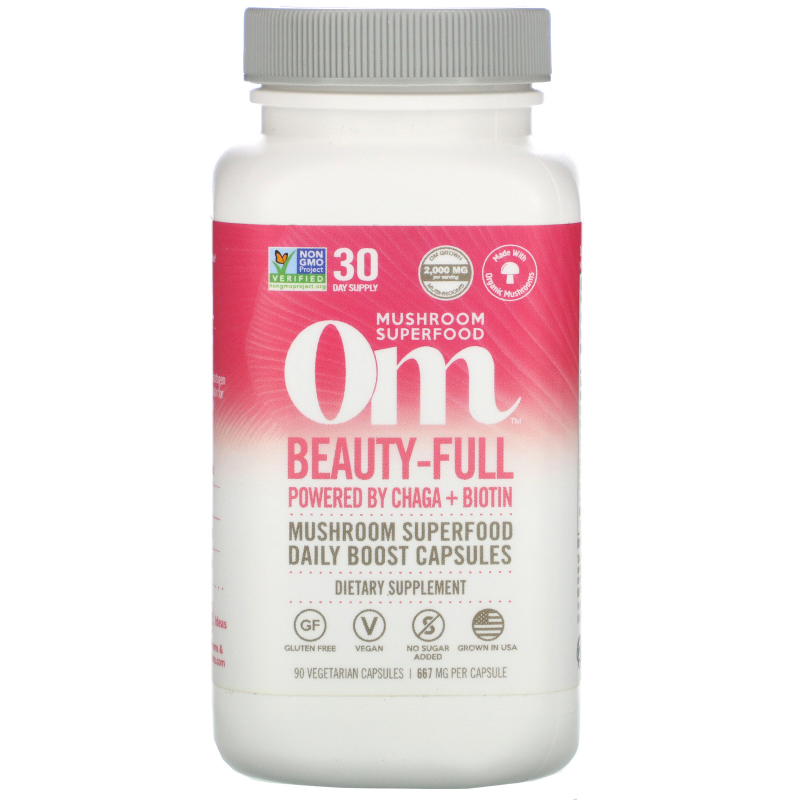 Organic Mushroom Nutrition, Beauty-Full, Powered by Chaga + Biotin, 667 mg, 90 Vegetarian Capsules