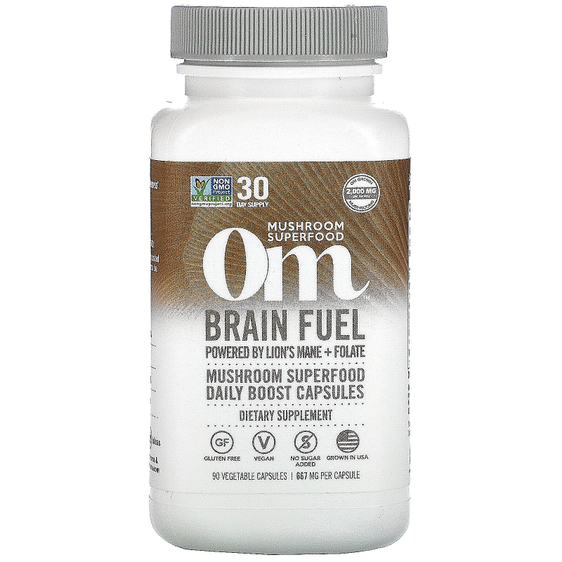 Organic Mushroom Nutrition, Brain Fuel, Powered by Lion's Mane + Folate, 667 mg, 90 Vegetarian Capsules