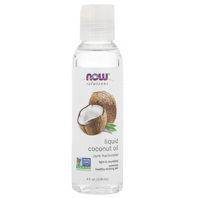Now Foods, Solutions, Liquid Coconut Oil, Pure Fractionated, 4 fl oz (118 ml)