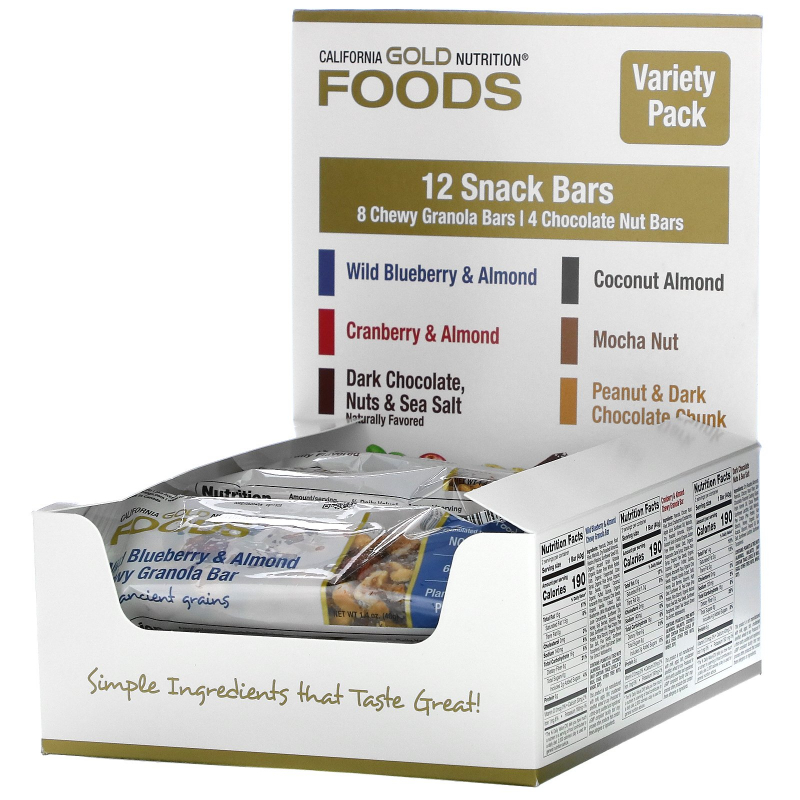 California Gold Nutrition, Foods, Variety Pack Snack Bars, 12 Bars, 1.4 oz (40 g) Each
