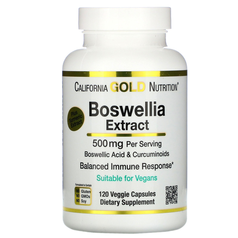 California Gold Nutrition, Boswellia Extract, Plus Turmeric Extract, 500 mg, 120 Veggie Capsules