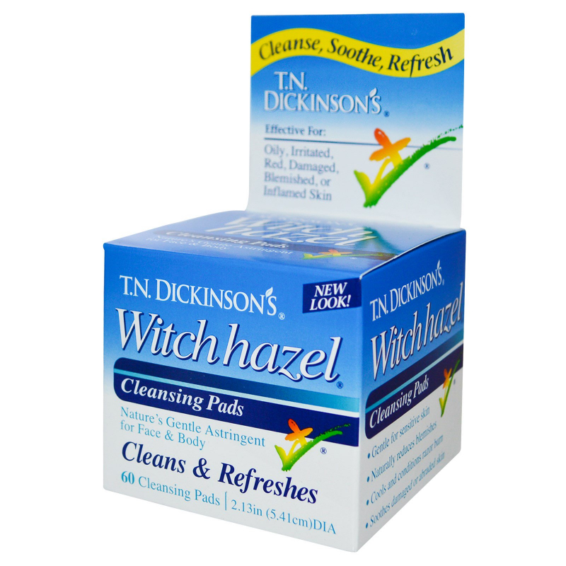 Dickinson Brands, T.N. Dickinson's Witch Hazel Cleansing Pads, 60 Pads, 2.13 in (5.41 cm) dia