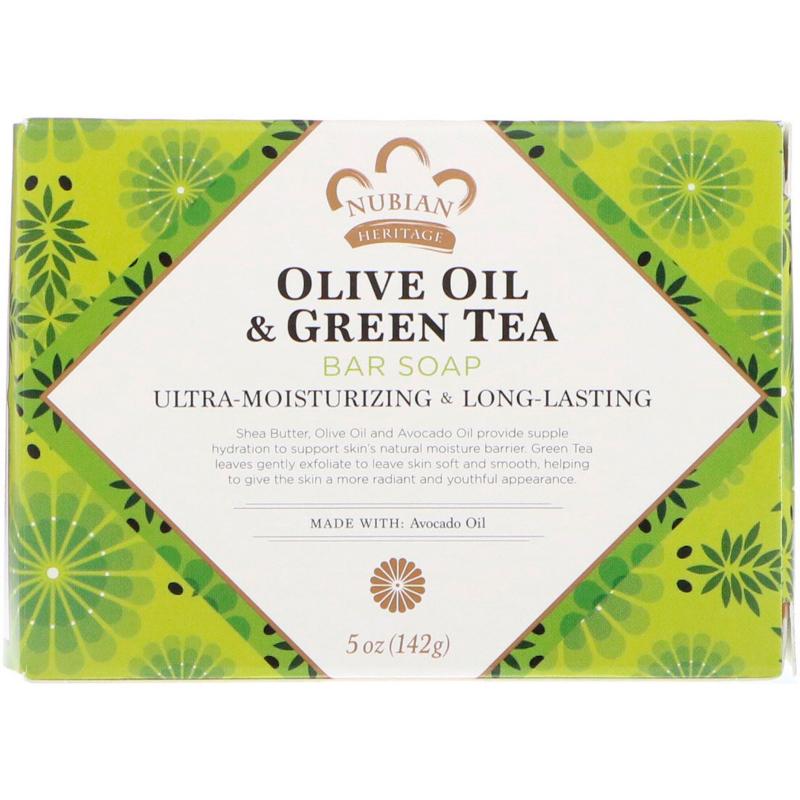 Nubian Heritage, Olive Oil & Green Tea Bar Soap, 5 oz (142 g)